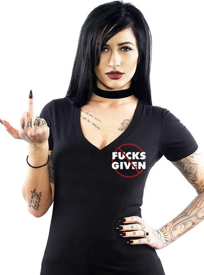 "Women's ""No Flying Fucks"" V-Neck Tee by Skygraphx (Black)"