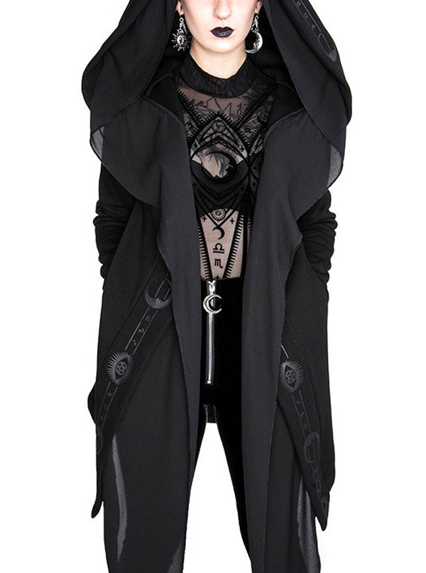 Women's Fortune Teller Hoodie with Veil by Restyle (Black)