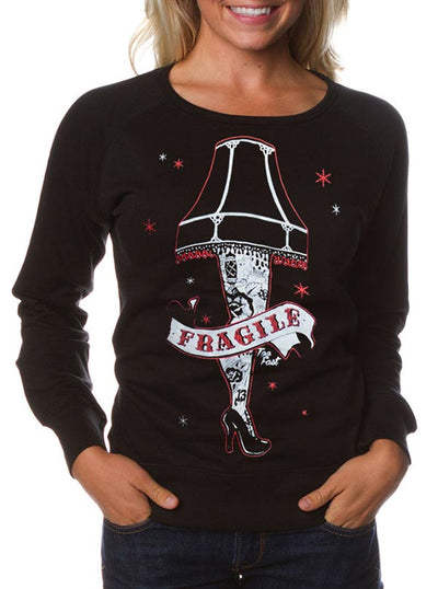 Women's Fragile Tattoo Leg Lamp Ugly Christmas Fitted Sweatshirt by Too Fast