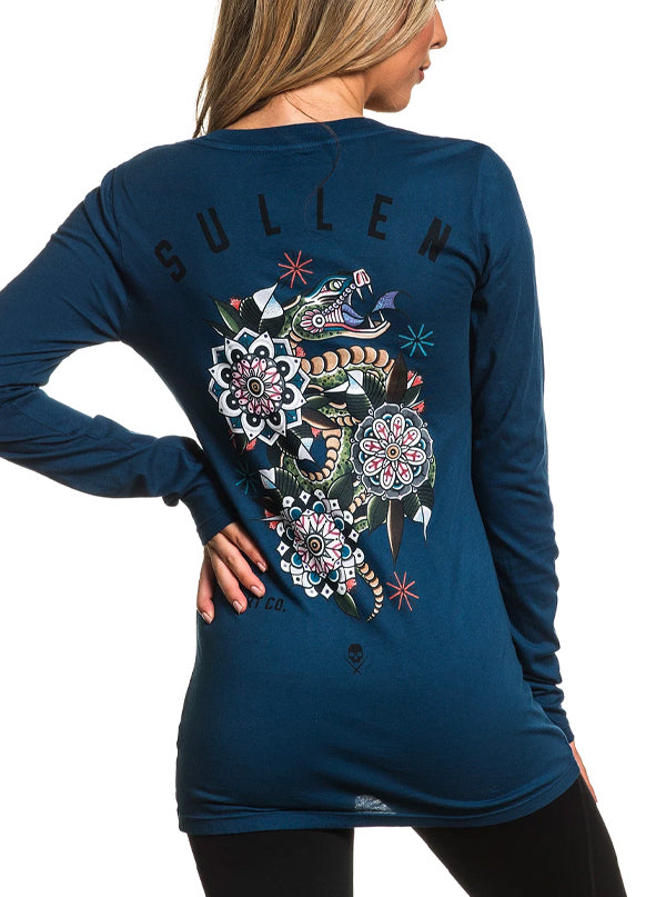 Women's France Snake Long Sleeve Tee by Sullen (Navy)