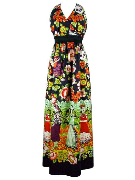 "Women's ""Frida and Catrinas Maxi"" Dress by Hemet - InkedShop - 1"