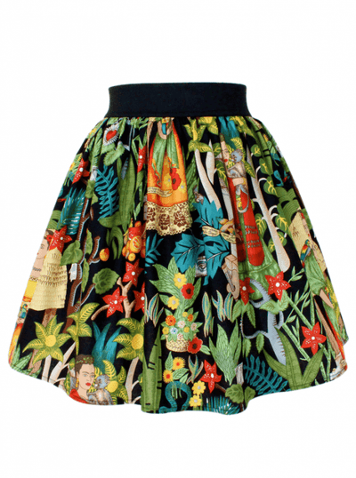 "Women's ""Frida Kahlo"" Pleated Skirt by Hemet (Black) - www.inkedshop.com"
