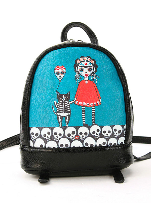 Sugar Skulls & Cat Balloons Mini Backpack