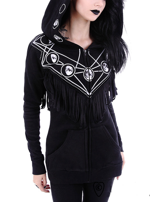 Women's Moon Geometry Hoodie by Restyle (Black)