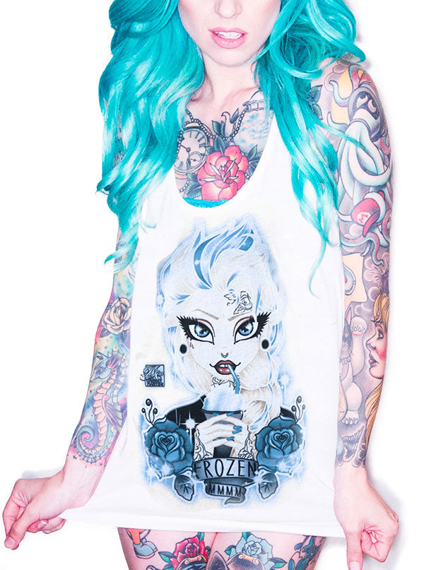 Women's Frozen Racerback Tank by Lowbrow Art Company (White)
