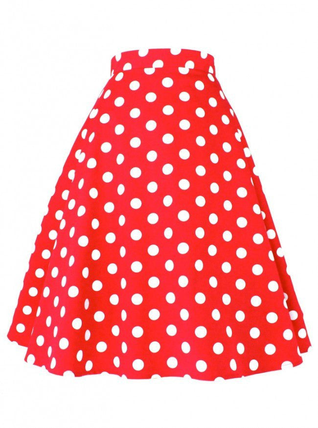 "Women's ""Polka Dots"" Circle Skirt by Hemet (Red) - www.inkedshop.com"