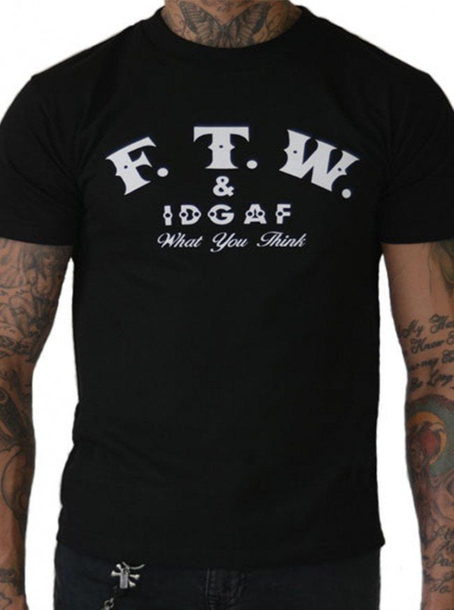 "Men's ""FTW & IDGAF"" Tee by Pinky Star (Black) - InkedShop - 1"