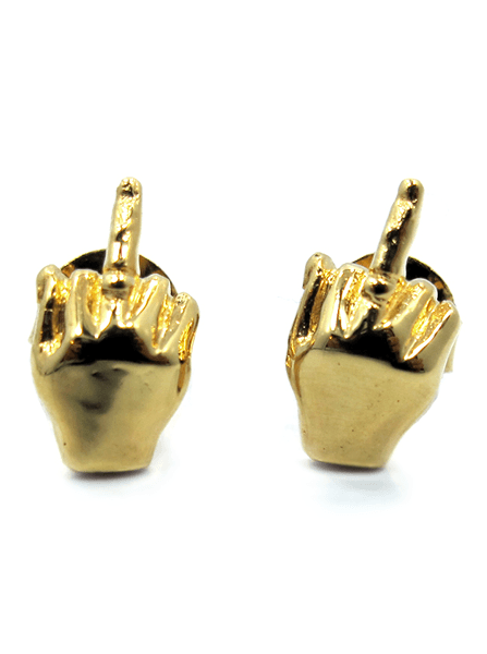 """FU"" Earrings by Han Cholo (Gold Tone) - www.inkedshop.com"