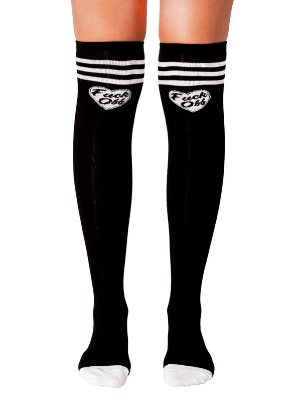 F Off Heart Thigh High Socks by Too Fast