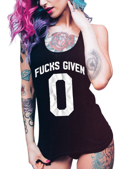 Women's Zero Fucks Given Tank by Heathen
