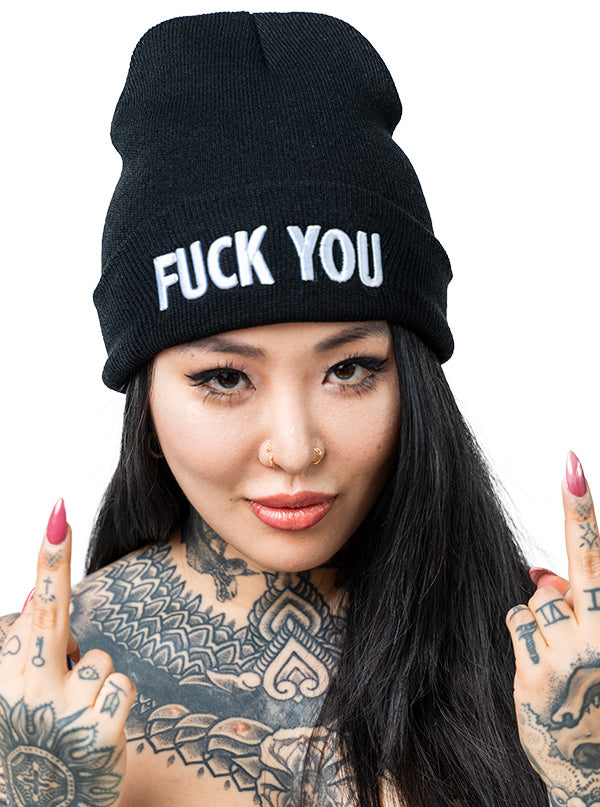 Fuck You Knit Beanie by Inked