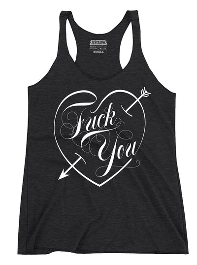 "Women's ""Fuck You Love"" Tank by Skygraphx (Charcoa)"