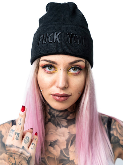 """Fuck You"" Knit Beanie by Inked (More Options)"
