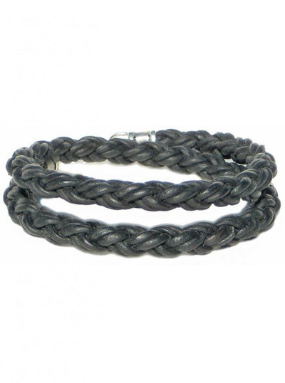 "Men's ""Braided Leather Rope Double Wrap"" Bracelet by Lucky Dog Leather (More Options) - InkedShop - 1"
