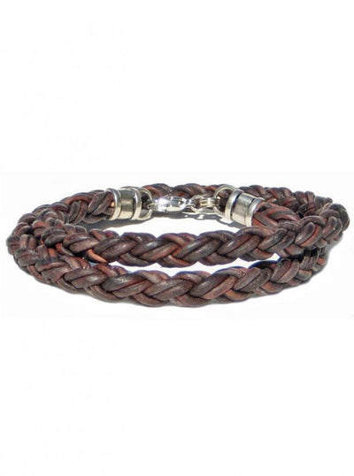 "Men's ""Braided Leather Rope Double Wrap"" Bracelet by Lucky Dog Leather (More Options) - InkedShop - 2"