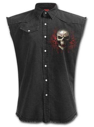 "Men's ""Game Over"" Sleeveless Worker Shirt by Spiral USA (Black) - www.inkedshop.com"