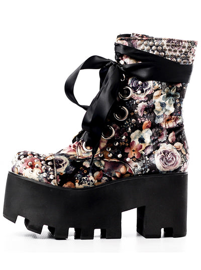 "Women's ""Atomic Garden"" Boots by Charla Tedrick (Black)"