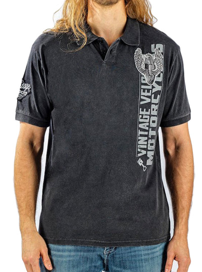 Men's Gas, Guts & Glory Polo Shirt by Lethal Threat (Charcoal Wash)