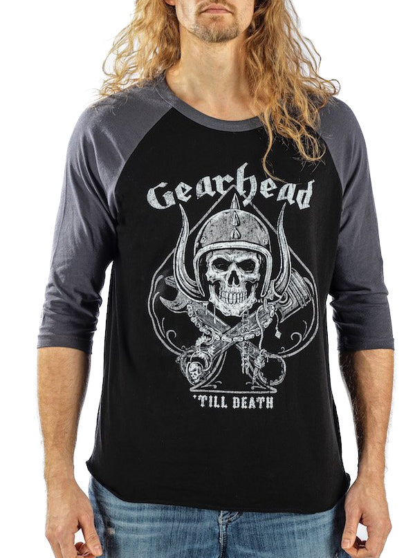 Men's Gearhead Raglan Tee by Lethal Threat (Grey/Black)
