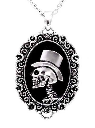 "Women's ""Gentleman Skull "" Cameo Necklace by Controse (Silver) - www.inkedshop.com"