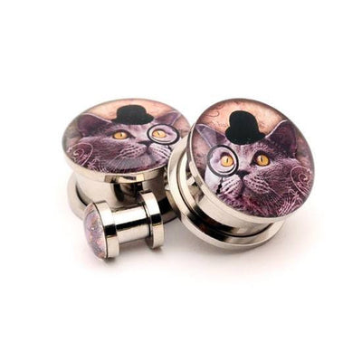 Gentleman Kitty Picture plugs by Mystic Metals - www.inkedshop.com