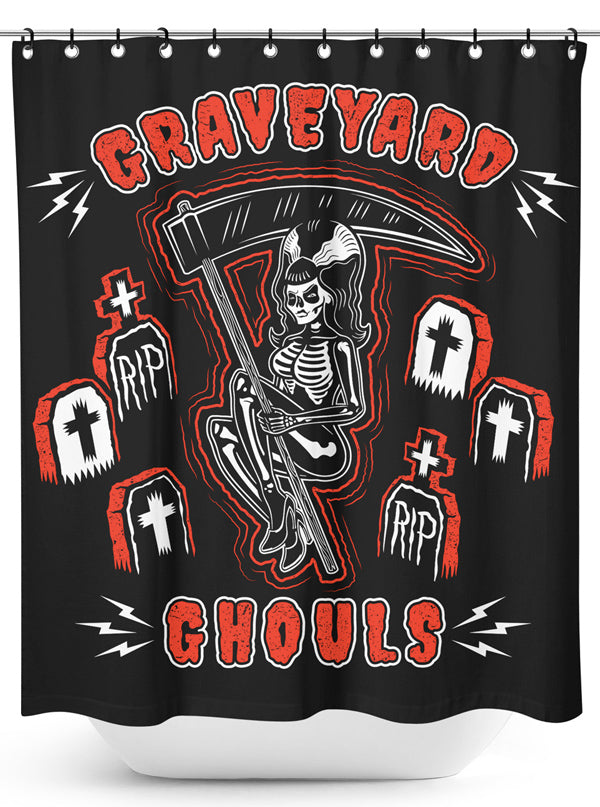 Graveyard Ghouls Shower Curtain by Sourpuss