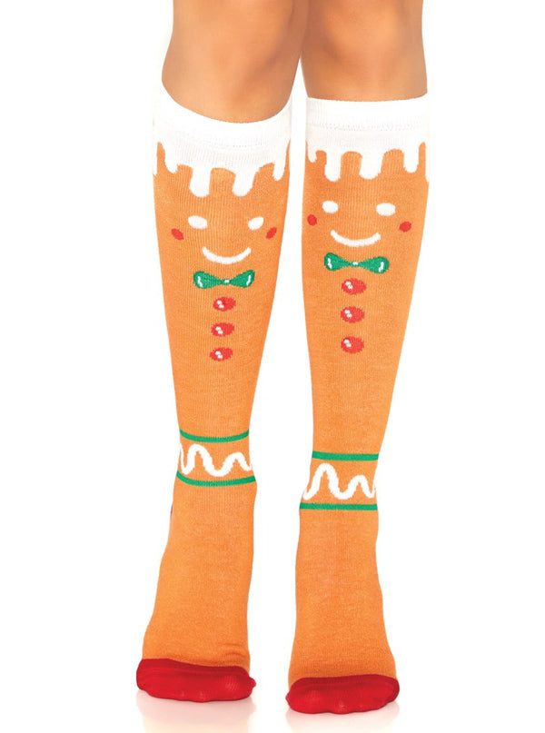 Women's Gingerbread Man Knee High Socks by Leg Avenue