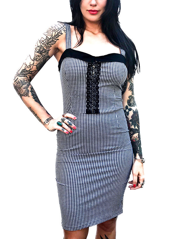Women's Lace Gingham Dagger Dress by Switchblade Stiletto