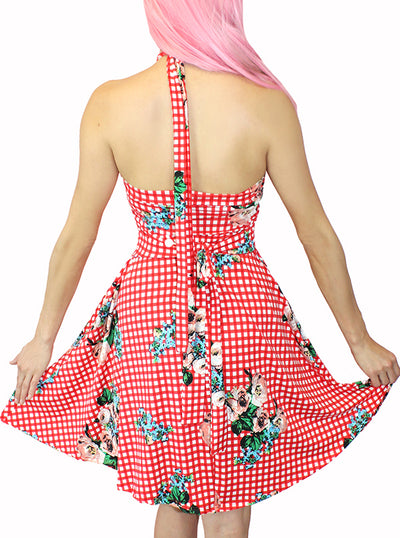 Women's Bunni Country Pinup Halter Dress by Demi Loon (Red Gingham)