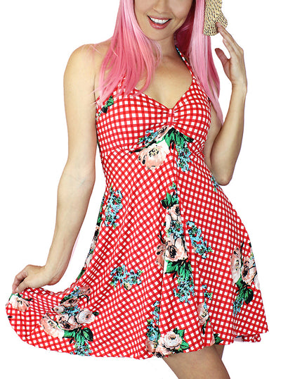 "Women's ""Bunni Country"" Pinup Halter Dress by Demi Loon (Red Gingham)"