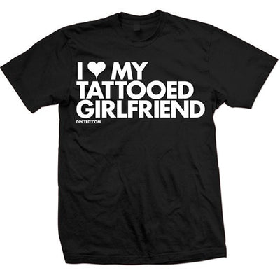 "Unisex ""I Heart My Tattooed Girlfriend"" Tee by Dpcted Apparel (Black) - InkedShop - 1"