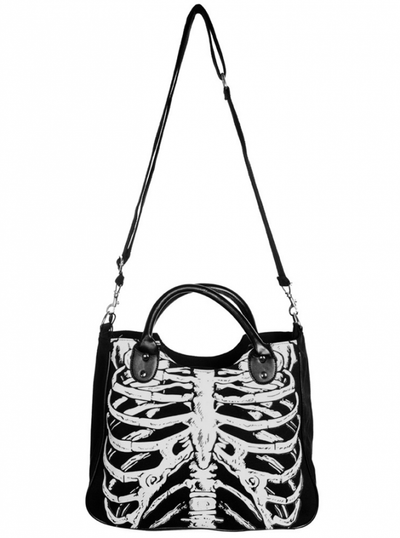 "Women's ""Glow In The Dark Skeleton"" Shoulder Bag by Banned Apparel (Black) - www.inkedshop.com"
