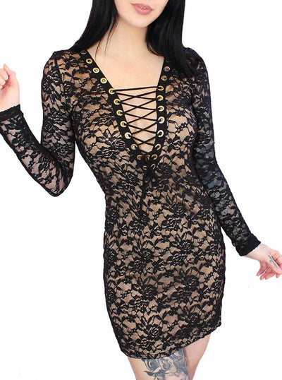 "Women's ""Glampire"" Lace Mini Corset Dress by Demi Loon (Black)"