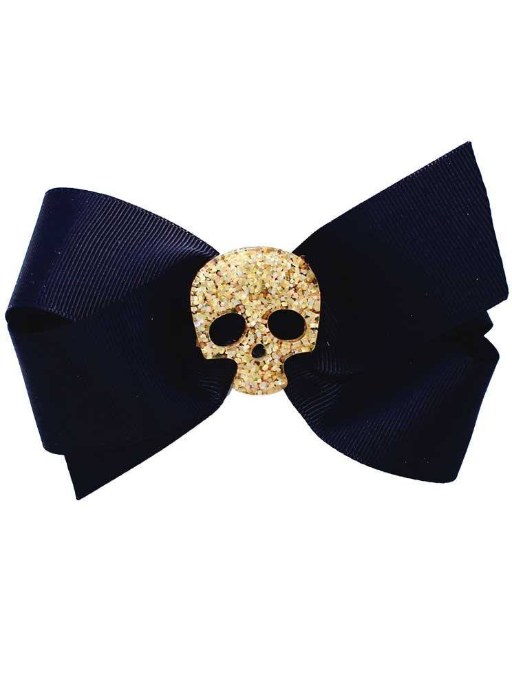 Skull Glitter Bow by Bowdacious Bows