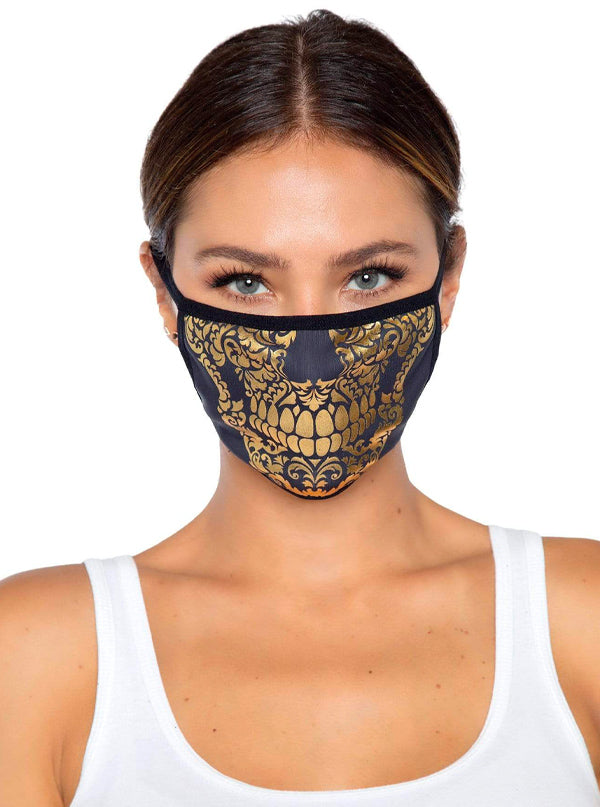Gold Skull Face Mask by Leg Avenue