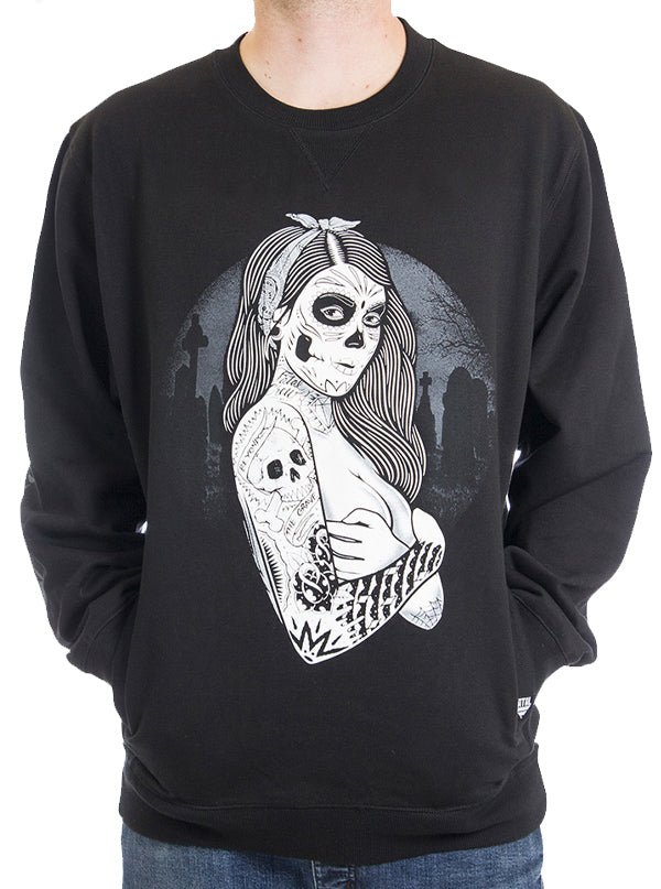 "Men's ""Grave Yard Girl"" Sweatshirt by Fatal Clothing (Black)"