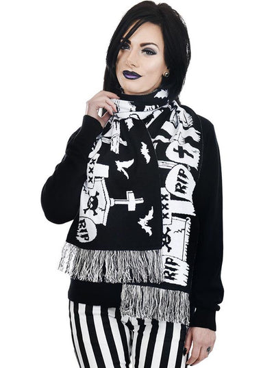 """Graveyard Scene"" Knit Scarf by Too Fast (Black)"