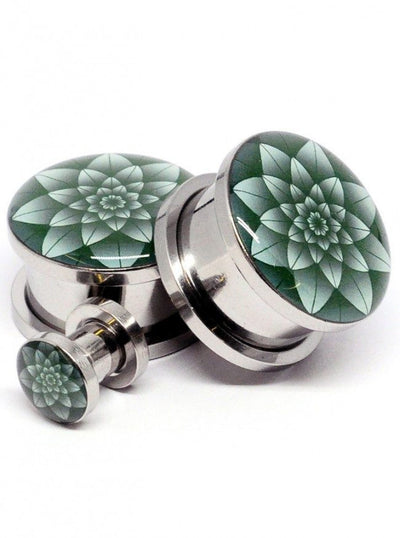 Green Lotus Plugs by Mystic Metals - www.inkedshop.com