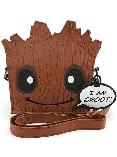 Marvel: Groot Die Cut Crossbody Bag by Loungefly (Brown)