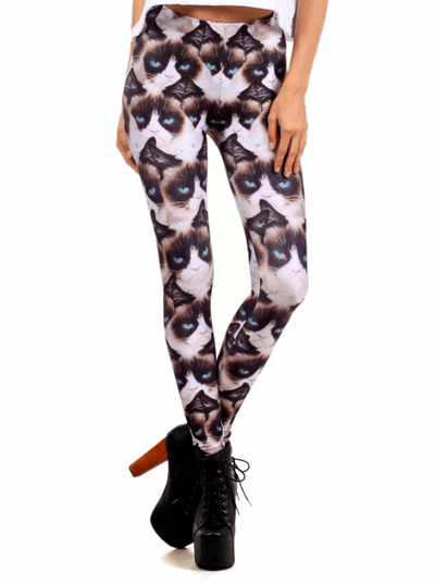"Women's ""Grumpy Cat"" Leggings by Poprageous (White) - www.inkedshop.com"