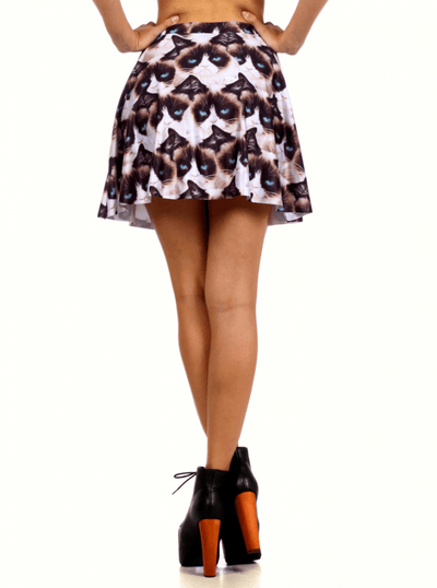 "Women's ""Grumpy Cat"" Skater Skirt by Poprageous (White) - www.inkedshop.com"