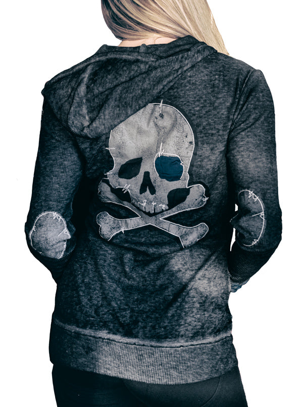 "Women's ""Grunge Skull"" Zip-Up Hoodie by Lethal Angel (Heather Grey)"