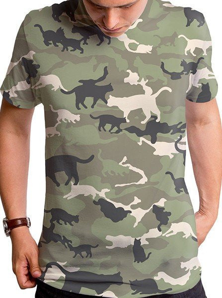 "Men's ""Catmouflage"" Tee by Goodie Two Sleeves (Camo) - www.inkedshop.com"