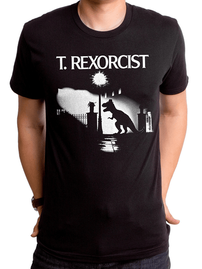 "Men's ""T. Rexorcist"" Tee by Goodie Two Sleeves (Black) - www.inkedshop.com"