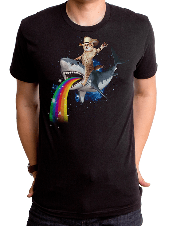 "Men's ""Bucking Sharkaroo"" Tee by Goodie Two Sleeves (Black) - www.inkedshop.com"