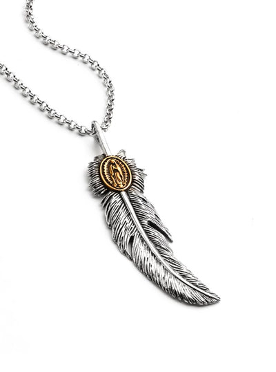 Guadalupe Feather Necklace by Silver Phantom Jewelry