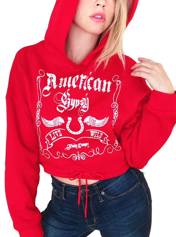 Women's American Gypsy Cropped Hoodie by Trashy Cowgirl (Red)