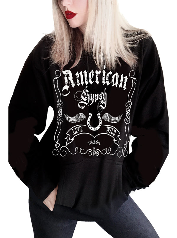 Women's American Gypsy Distressed Hoodie by Demi Loon