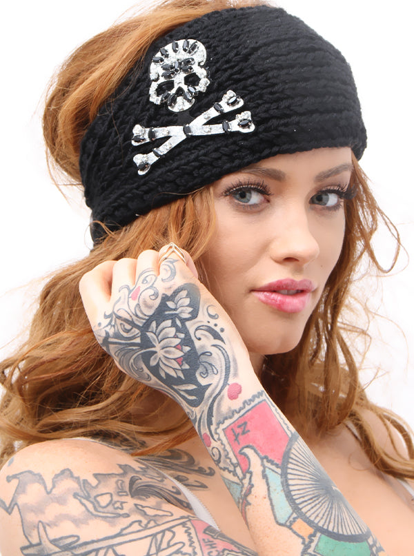 Women's Skull Face Rhinestones Headband by Inked (Multi Colors)