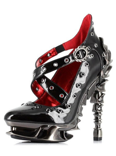 """Crow"" High Heel by Hades (Black) - www.inkedshop.com"